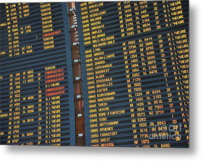 Arrival Board At Paris Charles De Gaulle International Airport Metal Print by Sami Sarkis