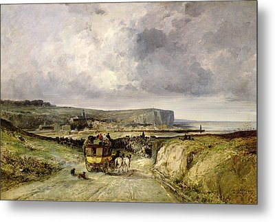 Arrival Of A Stagecoach At Treport Metal Print by Jules Achille Noel