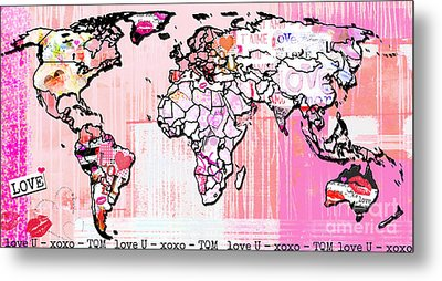 Art Map Pink Love Metal Print by WALL ART and HOME DECOR