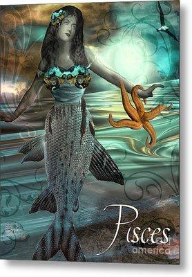 Art Nouveau Zodiac Pisces Metal Print by Mindy Sommers