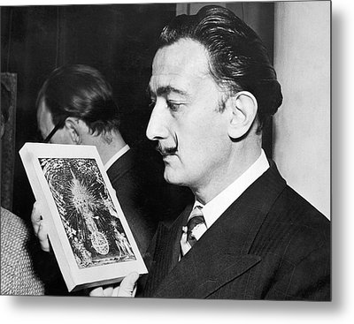 Artist Salvador Dali Metal Print by Underwood Archives