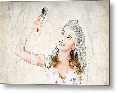Artistic 50s Pinup Girl Painting Self Portrait Metal Print by Jorgo Photography - Wall Art Gallery