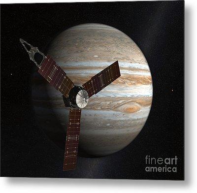 Artists Concept Of The Juno Spacecraft Metal Print by Stocktrek Images