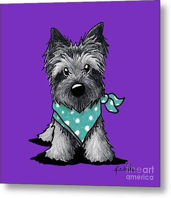 Ash Cairn Terrier In Dots Metal Print by Kim Niles