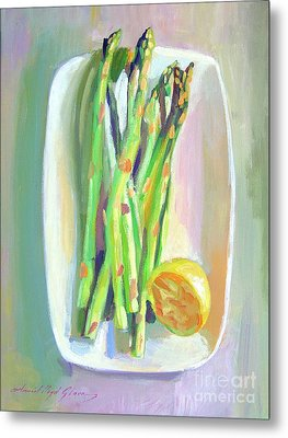 Asparagus Plate Metal Print by David Lloyd Glover