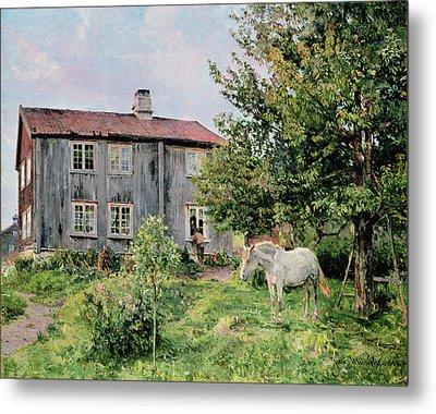 At The Farm Metal Print by Gerhard Peter Frantz Vilhelm Munthe