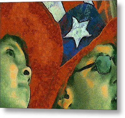At The Fireworks Metal Print by Elaine Frink