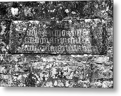 Athassel Priory Ireland Medieval Ruins Carved Wall Stone Black And White Metal Print by Shawn O'Brien