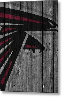 Atlanta Falcons Wood Fence Metal Print by Joe Hamilton