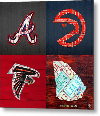 Atlanta Sports Fan Recycled Vintage Georgia License Plate Art Braves Hawks Falcons Plus State Map Metal Print by Design Turnpike