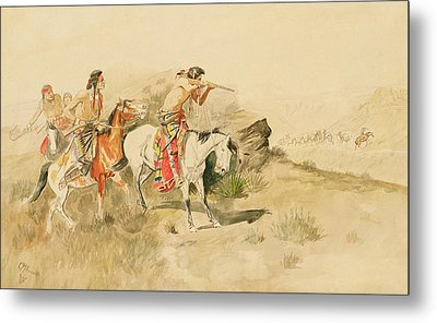 Attack On The Muleteers Metal Print by Charles Marion Russell