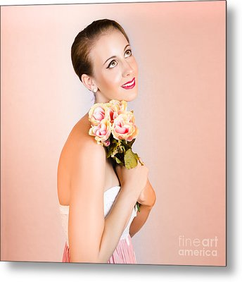 Attractive Brunette Dreams Of Romance Metal Print by Jorgo Photography - Wall Art Gallery