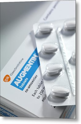 Augmentin Antibiotic Pills Metal Print by Tek Image