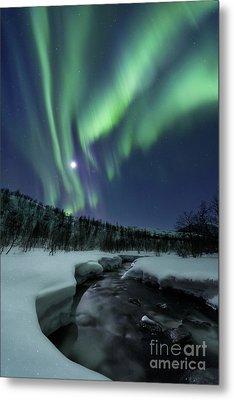 Aurora Borealis Over Blafjellelva River Metal Print by Arild Heitmann
