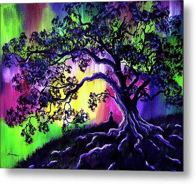 Aurora Borealis Tree Of Life Meditation Metal Print by Laura Iverson