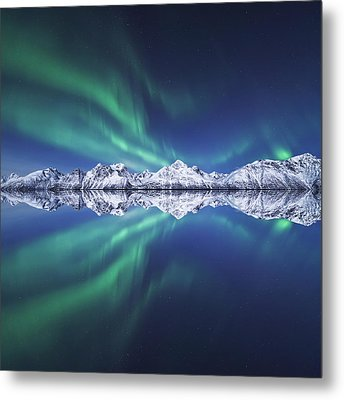 Aurora Square Metal Print by Tor-Ivar Naess
