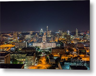 Austin Cityscape At Night Metal Print by Tod and Cynthia Grubbs