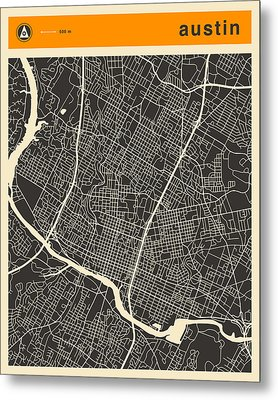 Austin Map Metal Print by Jazzberry Blue