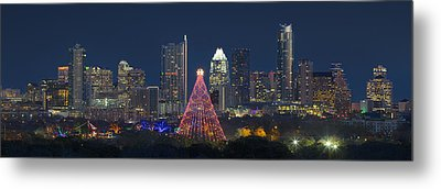 Austin Panorama Of The Trail Of Lights And Skyline Metal Print by Rob Greebon
