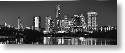 Austin Skyline At Night Black And White Bw Panorama Texas Metal Print by Jon Holiday