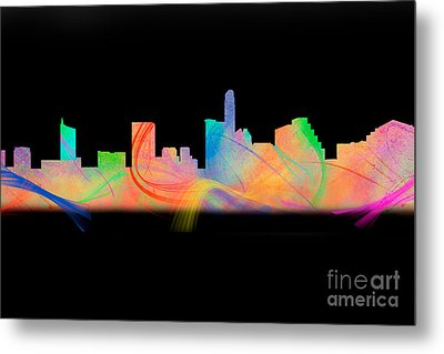 Austin Skyline Rainbow Watercolor Metal Print by Tod and Cynthia Grubbs