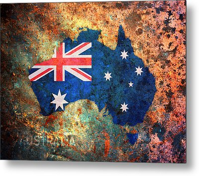 Australia Flag Map Metal Print by Michael Tompsett