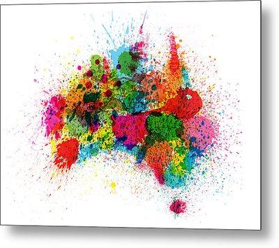Australia Paint Splashes Map Metal Print by Michael Tompsett