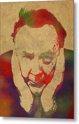 Author James Patterson Watercolor Portrait Metal Print by Design Turnpike