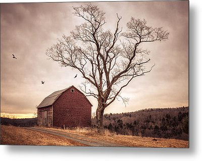 Autumn Barn And Tree Metal Print by Gary Heller