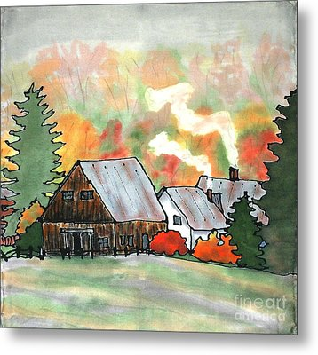 Autumn Chill Silk Painting Metal Print by Linda Marcille