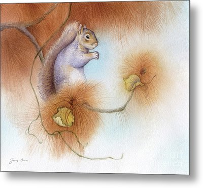 Autumn Come Softly Squirrel Metal Print by Tracy Herrmann