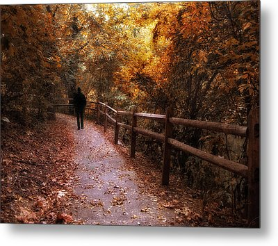 Autumn In Stride Metal Print by Jessica Jenney