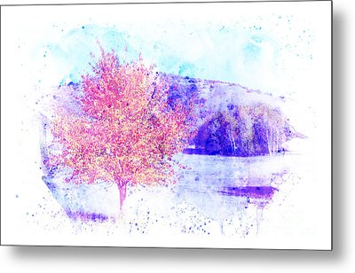 Autumn Landscape With A Background In Watercolor. Metal Print by Stefano Gervasio