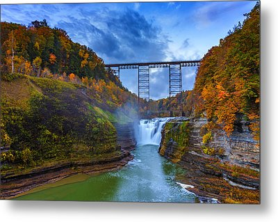 Autumn Morning At Upper Falls Metal Print by Rick Berk