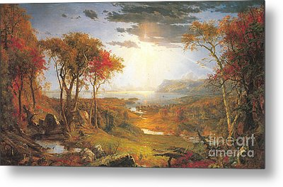 Autumn On The Hudson Rive Metal Print by Celestial Images