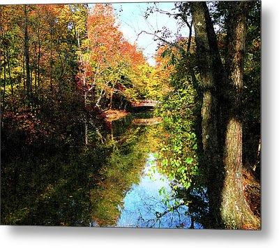 Autumn Park With Bridge Metal Print by Susan Savad
