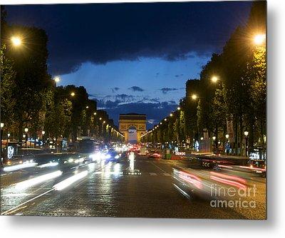 Avenue Des Champs Elysees. Paris Metal Print by Bernard Jaubert