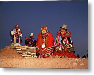 Aymara New Year Ceremonies Bolivia Metal Print by James Brunker
