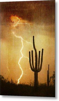 Az Saguaro Lightning Storm V Metal Print by James BO  Insogna