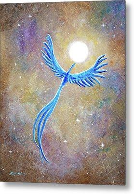 Azure Blue Phoenix Rising Metal Print by Laura Iverson