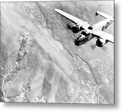 B-25 Bomber Over Germany Metal Print by War Is Hell Store