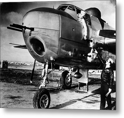 B-25 Mitchell Bomber, Used Metal Print by Everett