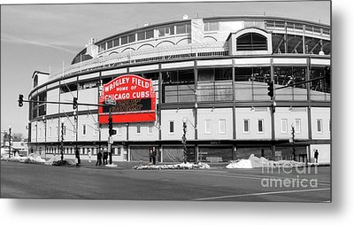 B-w Wrigley 100 Years Young Metal Print by David Bearden