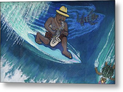 Baba Louie-surfing Sax Frisbee Player Metal Print by Dickens Fourtyfour