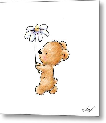 Baby Bear With Flower Metal Print by Anna Abramska