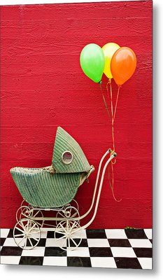 Baby Buggy With Red Wall Metal Print by Garry Gay