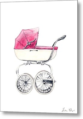 Baby Carriage In Pink - Vintage Pram English Metal Print by Laura Row