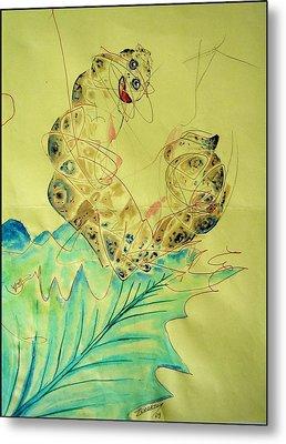 Baby Caterpillar Metal Print by Paulo Zerbato