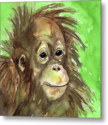 Baby Orangutan Wildlife Painting Metal Print by Cherilynn Wood