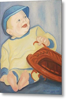 Baby With Baseball Glove Metal Print by Suzanne  Marie Leclair